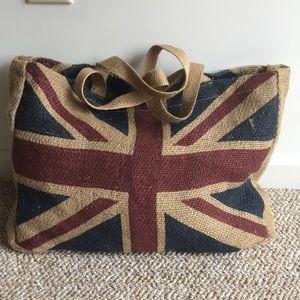 NWOT! UK Flag Jute Tote Bag